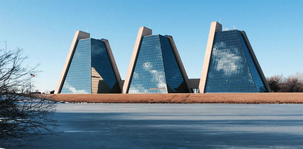 Element Three is situated inside this spectacular pyramid office structure in Indianapolis, Indiana.