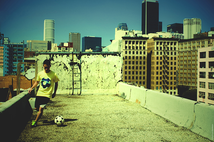 Soccer x Rooftop (with a view like this) -talk about a fun photoshoot!  This was an Advertisement for the first tee of Los Amerikanos.  Whether you play soccer on the field or on cement, the love of the game is universal.  Special thanks to @rundfc for helping me out with this shoot!