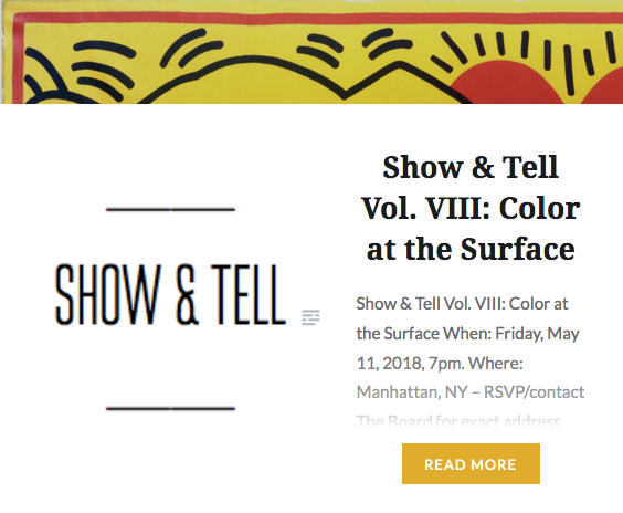 "R  aw canvas and selective priming.                                     Talk @  Show & Tell,  New York (US), vol. VIII ""Color at the Surface"", May 11"