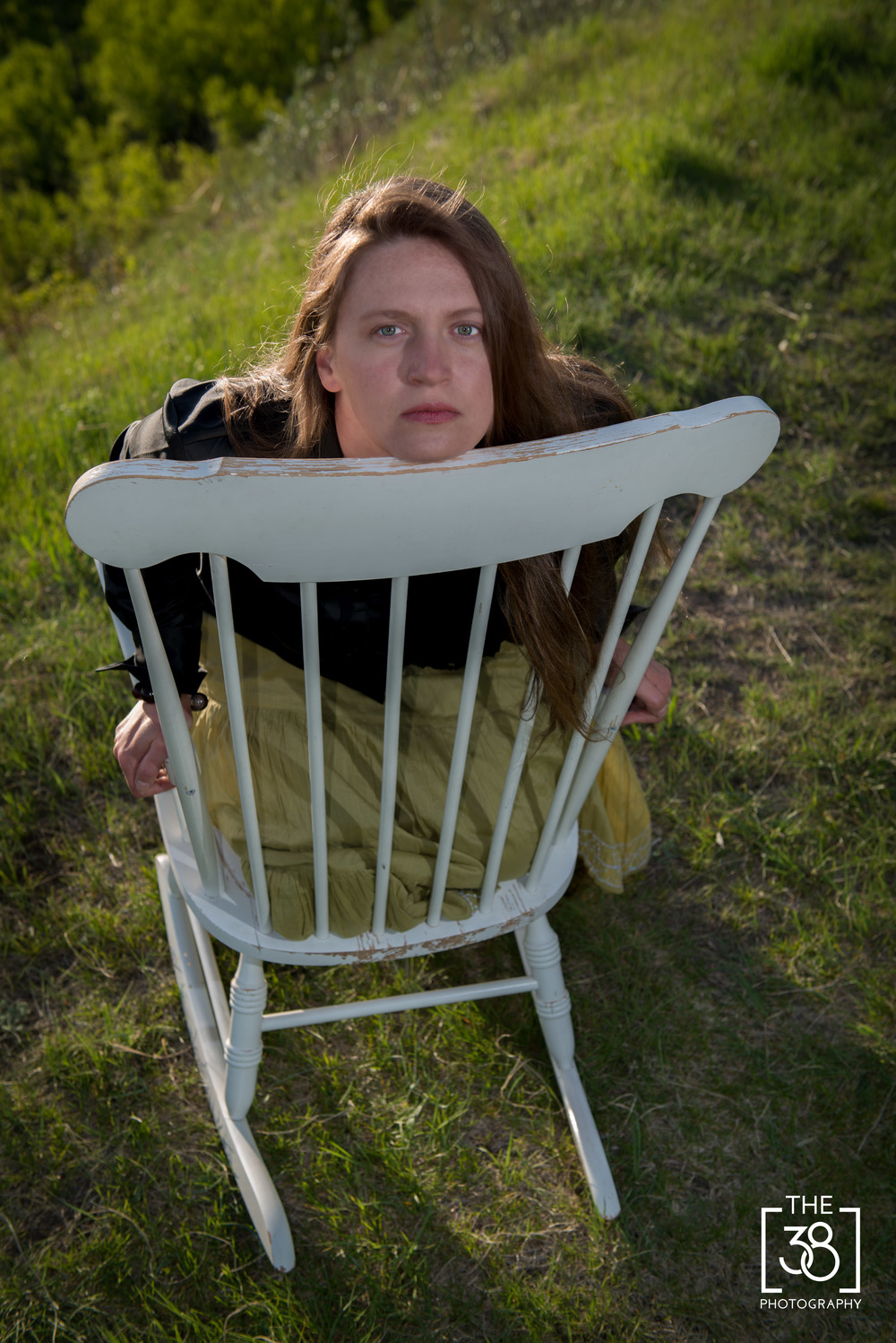 Portrait on the old rocking chair