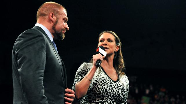 Stephanie McMahon and Triple H prepare for a long evening of torture.