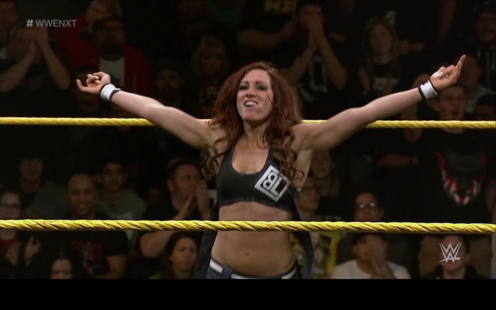 Becky celebrates a win.