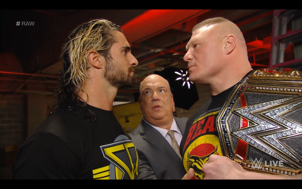 One of, if not the absolute best moment of the night. A stare-down between The Beast and The Future.