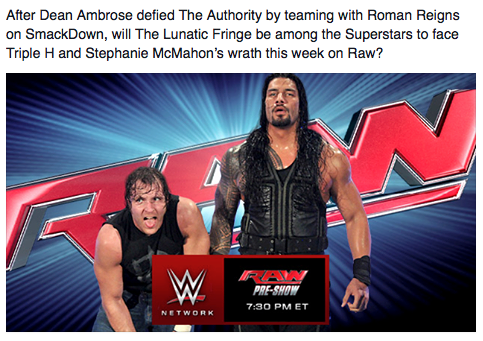 On WWE's Facebook page yesterday. What is the point of this if there's no real intentions to follow-through? Is it designed just to bait and switch fans?