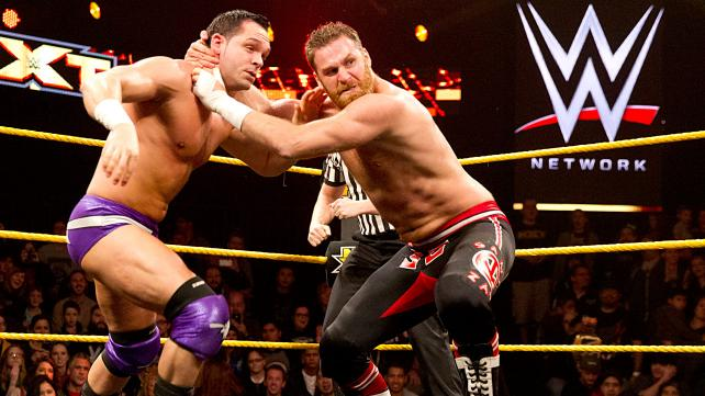 Sami Zayn attacks Tye Dillinger.