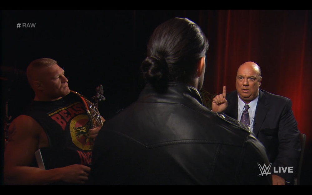 "Paul Heyman saying his famous phrase, ""The one behind the one in twenty-one and one."""