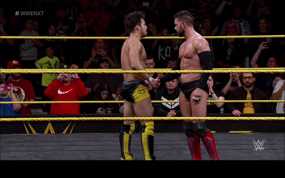 Hideo Itami shakes Finn Balor's hand after their spectacular match.