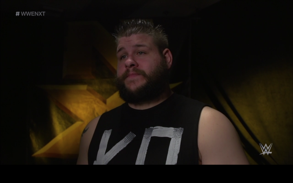 Kevin Owens interviewed in a similar fashion, but on the opposite end of the screen.