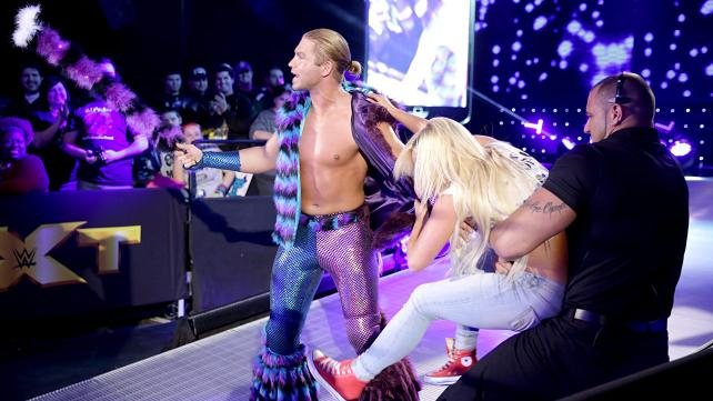 "A ""fan"" runs out of the crowd and mauls ""The Gorgeous One"", Tyler Breeze."