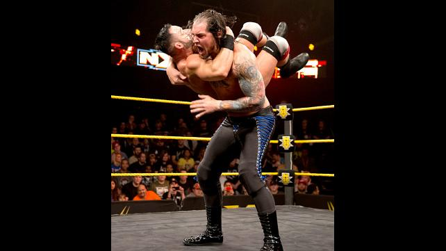 Baron Corbin delivers End of Days to Tye Dillinger.