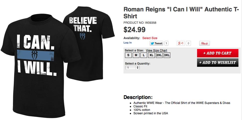 ROMAN REIGNS' new tee-shirt.