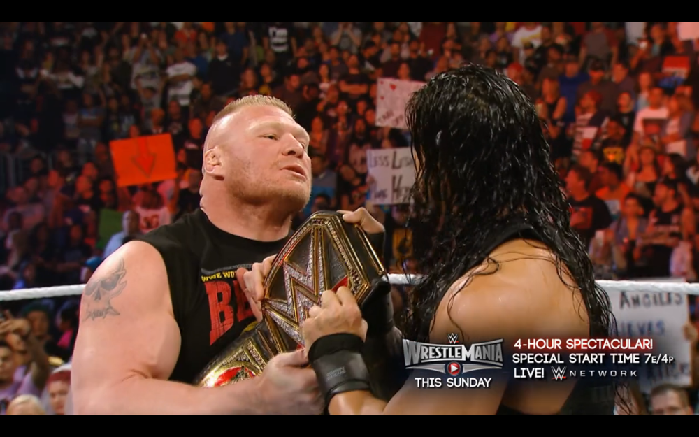 Brock Lesnar trying to get his title back from Roman Reigns.