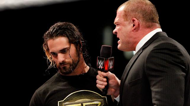 Kane screams at Seth Rollins on Monday Night Raw.