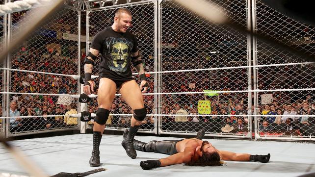 Randy Orton RKOs Seth Rollins on Monday Night Raw.