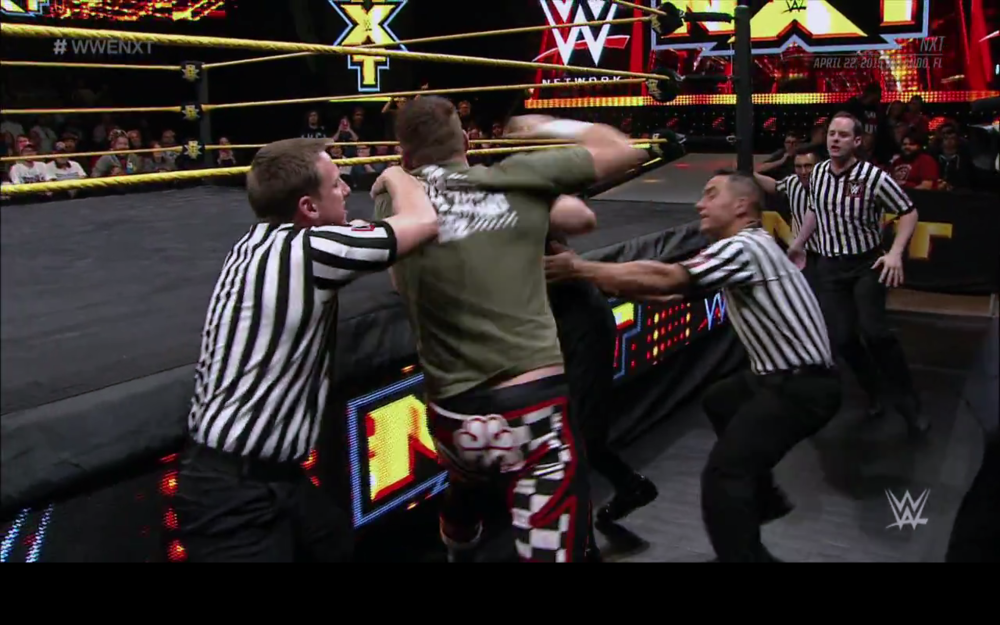 Kevin Owens and Sami Zayn going crazy.
