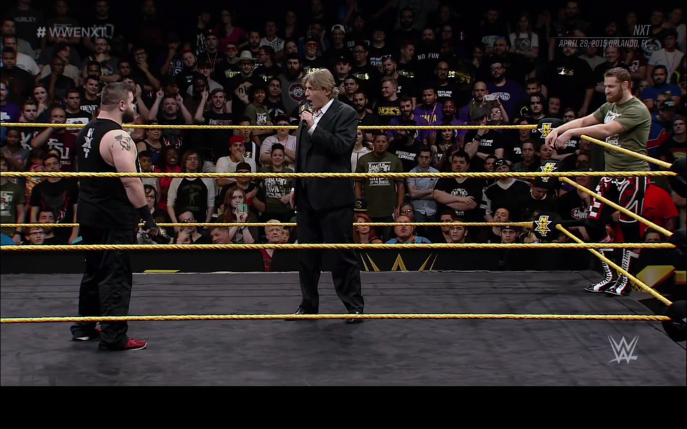 The opening promo between Kevin Owens (left), William Regal (center), and Sami Zayn (right).