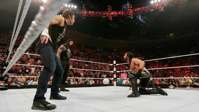 Seth Rollins, Roman Reigns, and Dean Ambrose.