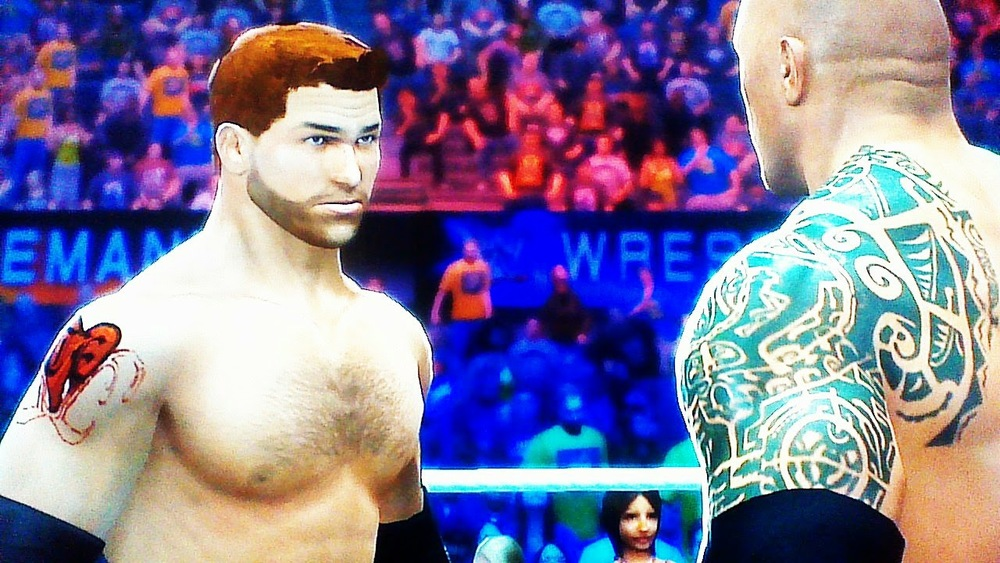 Maximus (left). The Rock (right). WWE 2K14 on Xbox 360.