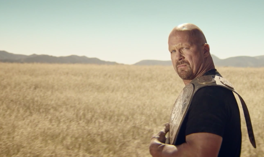 Steve Austin in the 2K16 cover reveal trailer.