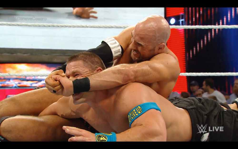 Cesaro with the crossface on Cena.