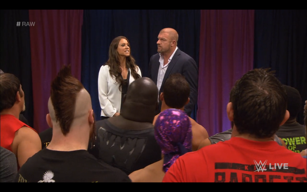 An unlikely scene on Monday Night Raw. Stephanie McMahon and Triple H address the roster.