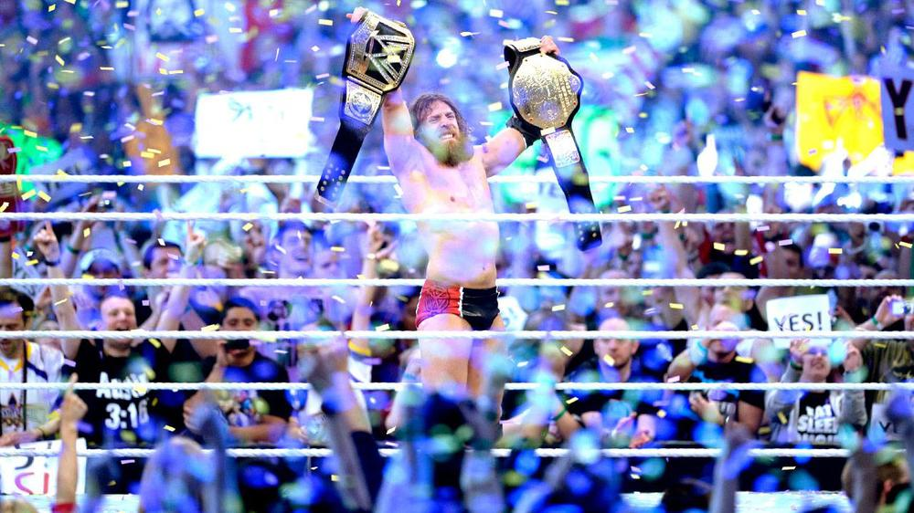 Daniel Bryan wins the WWE World Heavyweight Championship at WrestleMania 30 to uproarious applause.