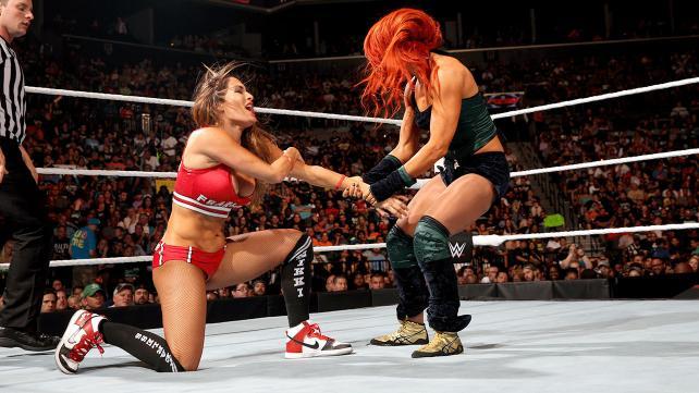 Nikki Bella and Becky Lynch on Monday Night Raw.
