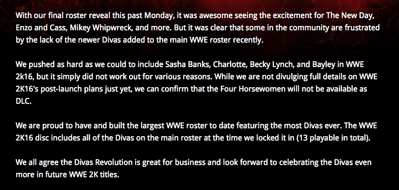 WWE 2Kgames' statement on excluding Sasha Banks, Becky Lynch, Bayley, and Ms. Charlotte.