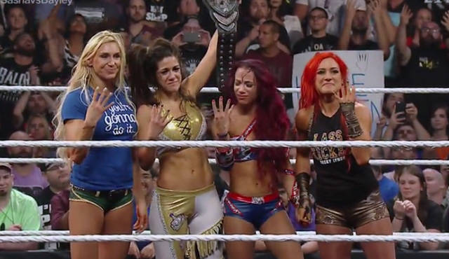 Left to Right - Charlotte, Bayley, Sasha Banks, Becky Lynch.