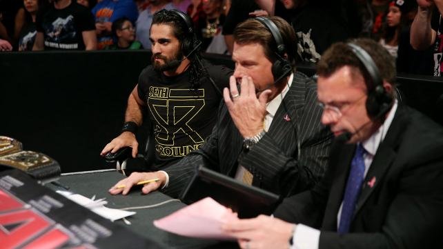 Seth Rollins on commentary.