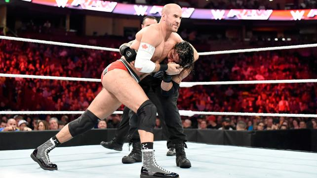 Cesaro and Roman Reigns battle to advance in the championship tournament.