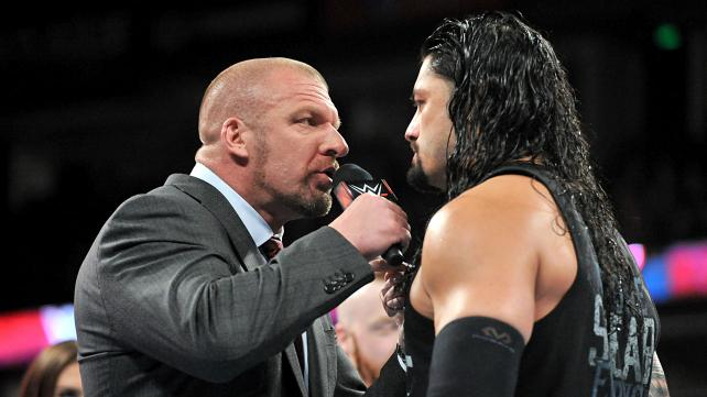 TRIPLE H AND ROMAN REIGNS ARE DISCOVERING THEY HAVE GOOD CHEMISTRY.