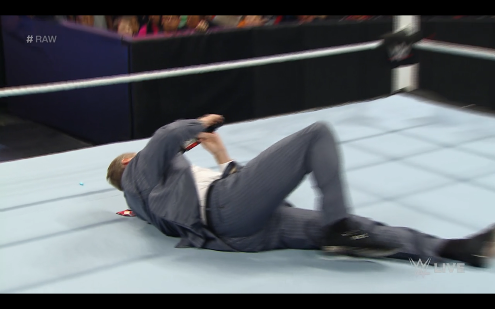 MCMAHON GETS PUSHED TO THE MAT