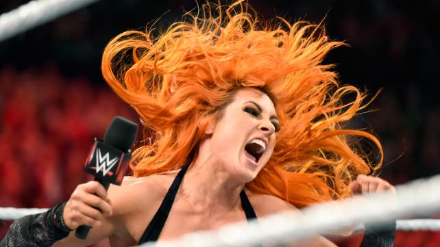 BECKY CELEBRATES WHEN RIC FLAIR AGREES TO A DIVAS TITLE MATCH ON CHARLOTTE'S BEHALF