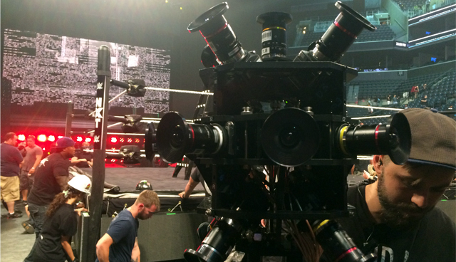 WWE crew setting up a VR camera.