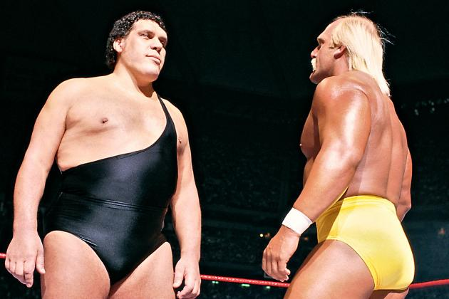 Andre The Giant (left), Hulk Hogan (right)