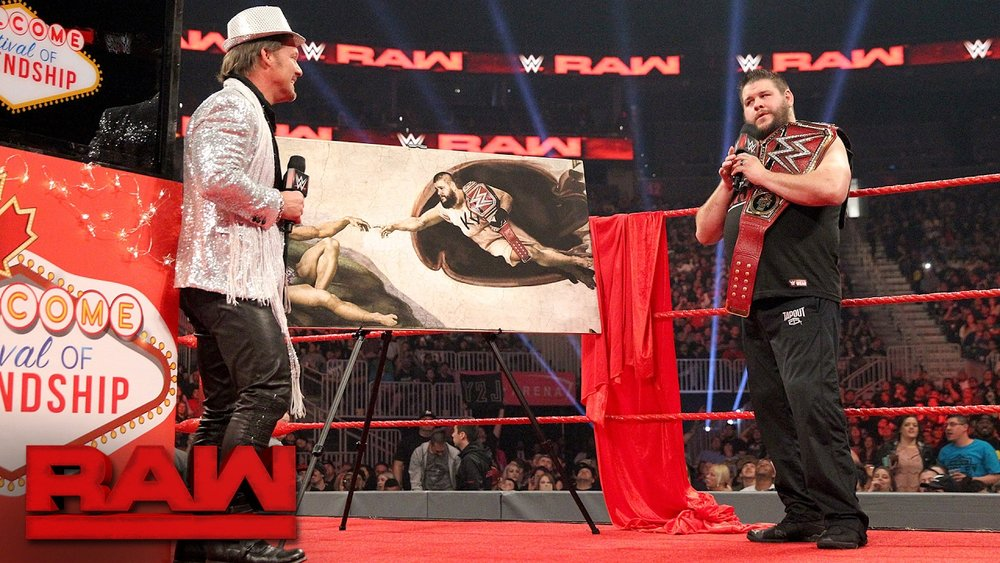 Chris Jericho (left), Kevin Owens (right) in WWE's Festival of Friendship