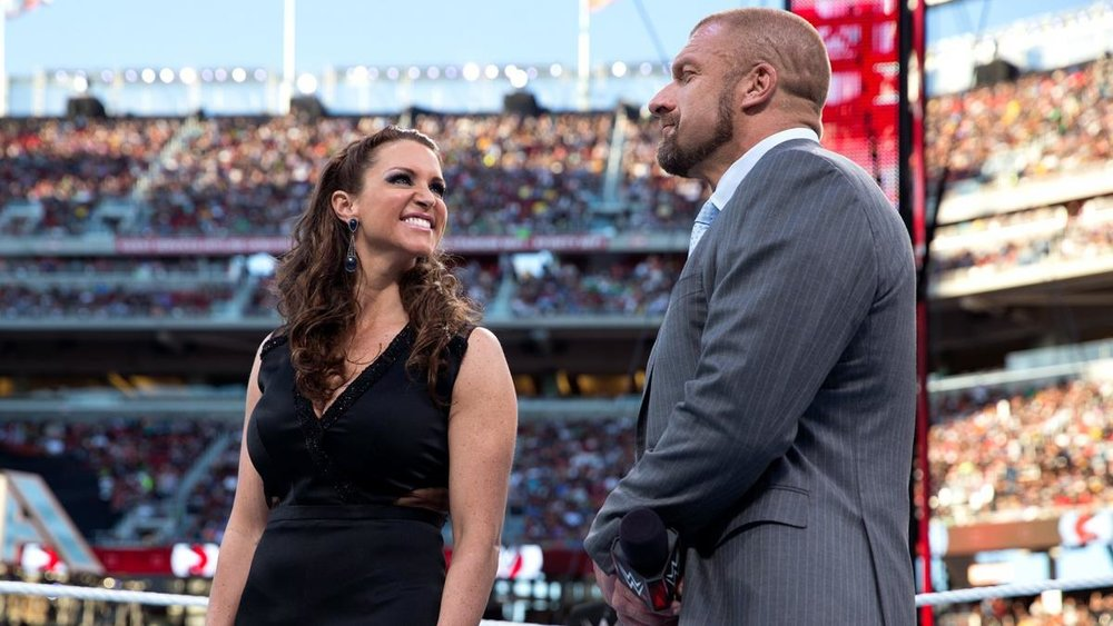Stephanie McMahon (left) with Triple H (right) at WrestleMania