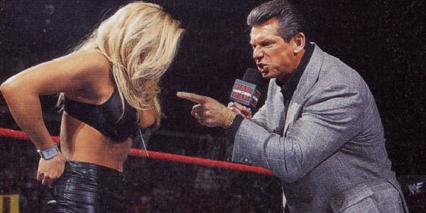 "Vince McMahon (""in character"") once forced Trish Stratus to take her clothes off in the middle of the ring, get down on all fours, and bark like a dog."