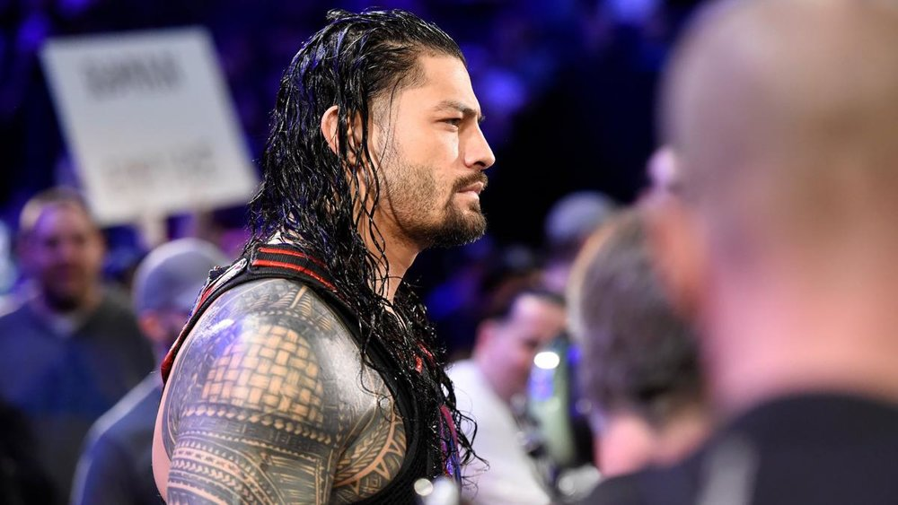 Roman Reigns walks to the ring on Monday Night Raw