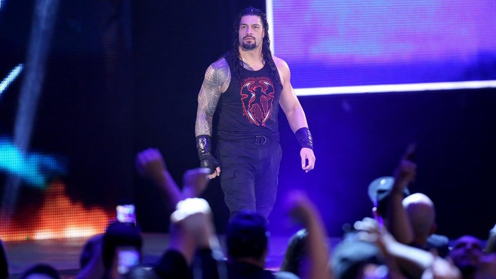 Roman Reigns on the Raw entrance ramp.