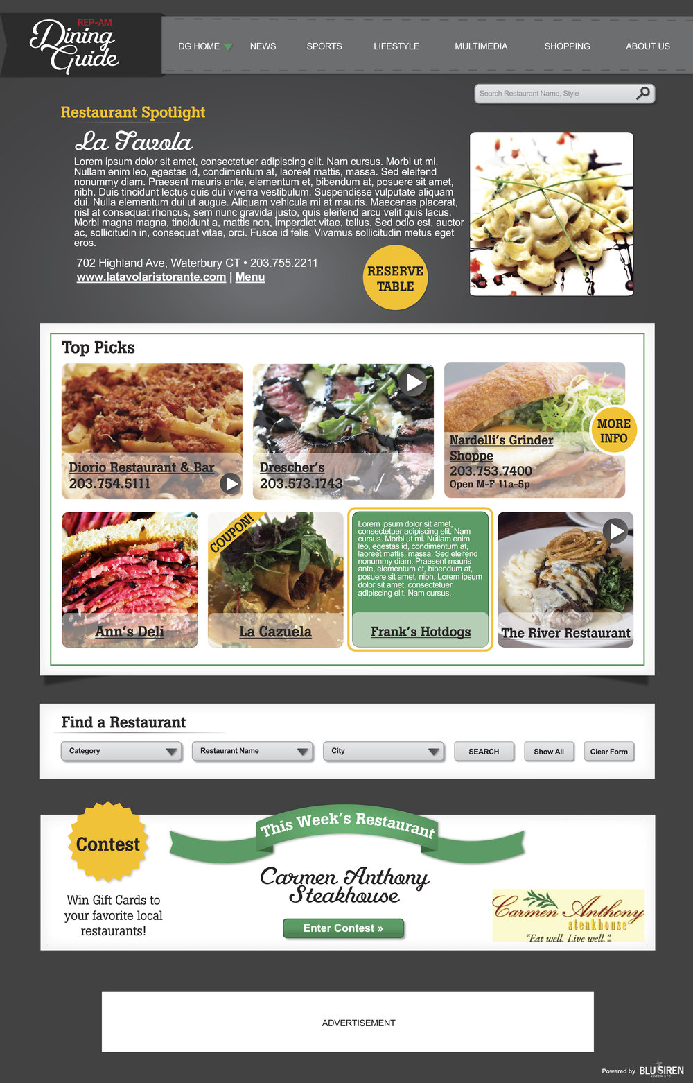 Newspaper Restaurant Guide Logo + Website Redesign