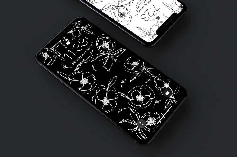 Poppies Wallpaper - Hand drawn iPhone X wallpaper in black with time notch
