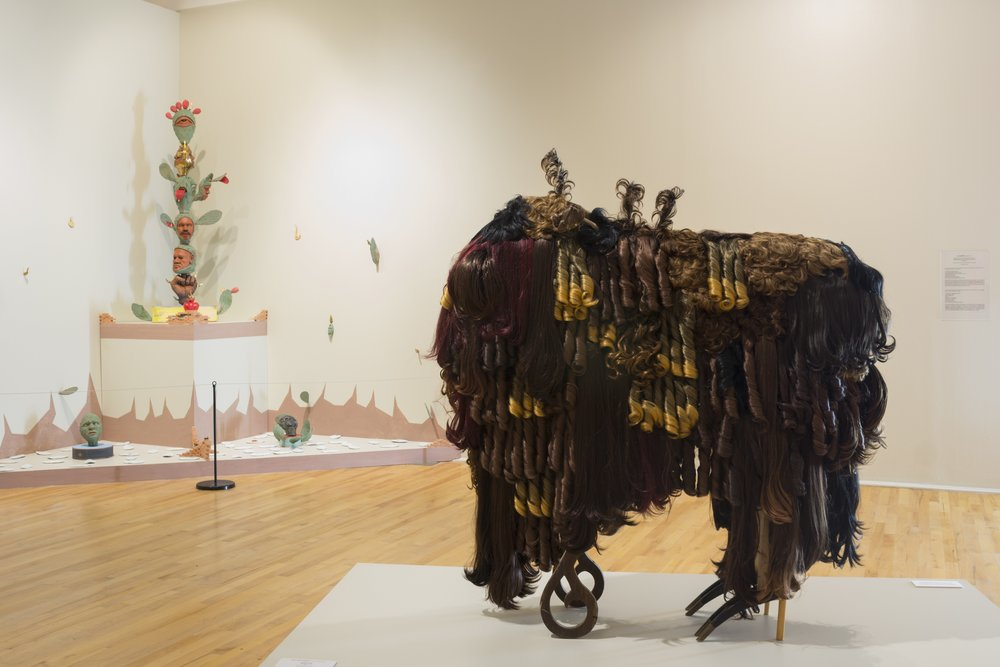 "Installation view with Salvador Jiménez-Flores installation and Juan Angel Chávez's ""Buffalo Sade"" sculpture, Summer 2017"