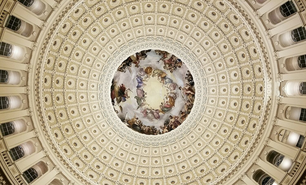 For three days in January 2017, I traveled to Washington, D.C. to write about the swearing in of two local congressmen. The exercise app on my phone said I walked more than five miles in one day, but it felt like a lot more. This photo is of the dome in the U.S. Capitol. It was taken with my smartphone.