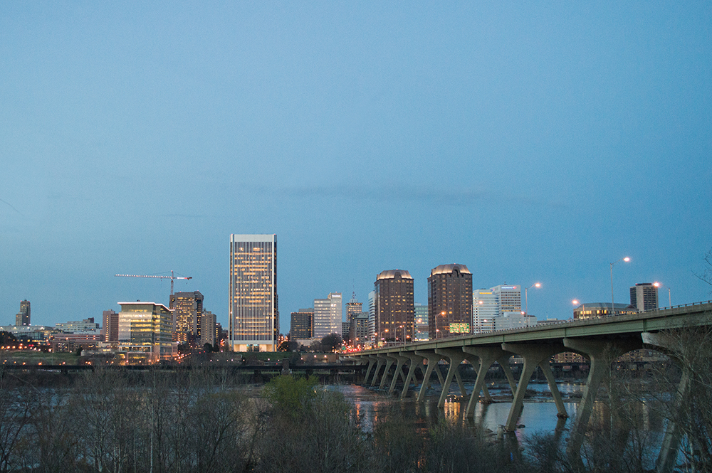 When covering a federal lawsuit about prayer, I stopped by a park in Richmond, Va with a great view of the city skyline. It was nearly dusk when I took the photo.