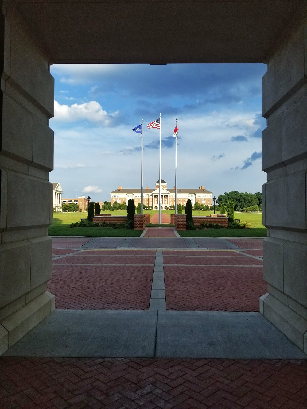 A view from the doorway of city hall in Kannapolis, N.C. toward the rest of the N.C. Research Campus. Smartphone picture.