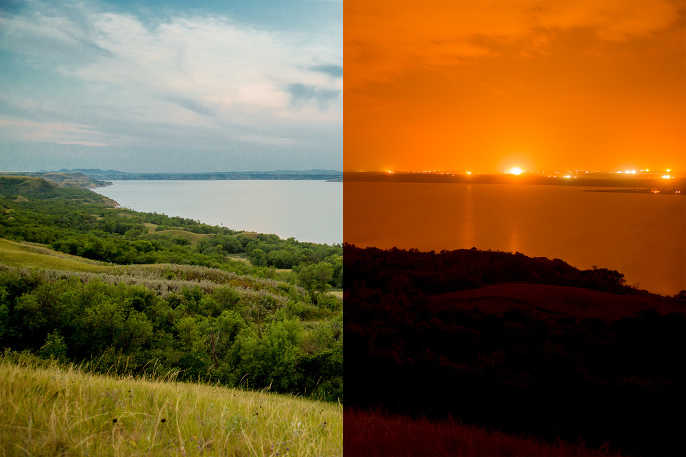 Day/night view of the Fort Berthold Indian Reservation