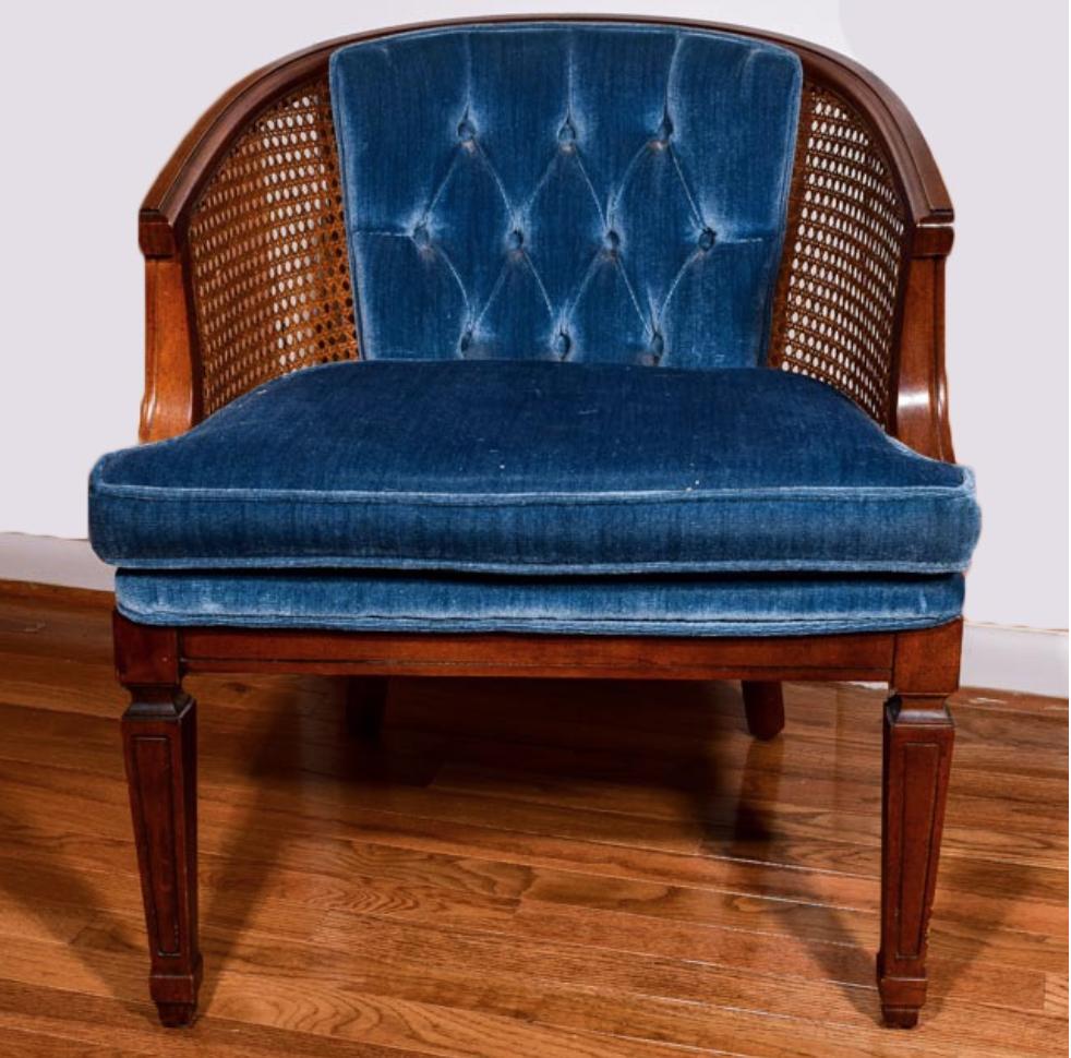 Mid Century Modern Blue Velvet Hollywood Regency Side Chair Callie Weddings Events