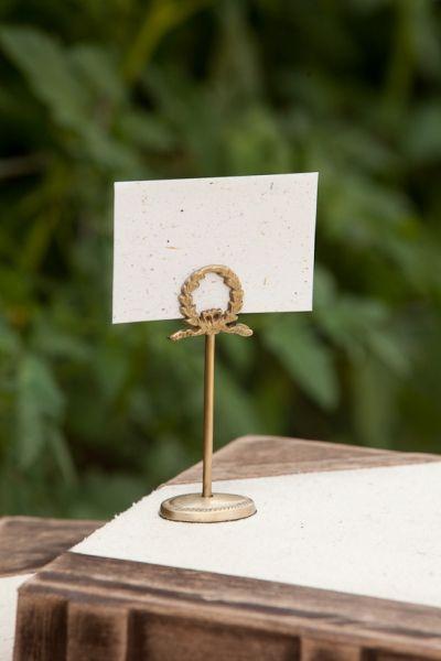 laurel wreath table number or place card holders — callie weddings